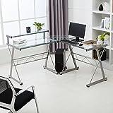 Mecor L-Shape Corner Computer Desk Glass Laptop Table Workstation Home Office Furniture Clear