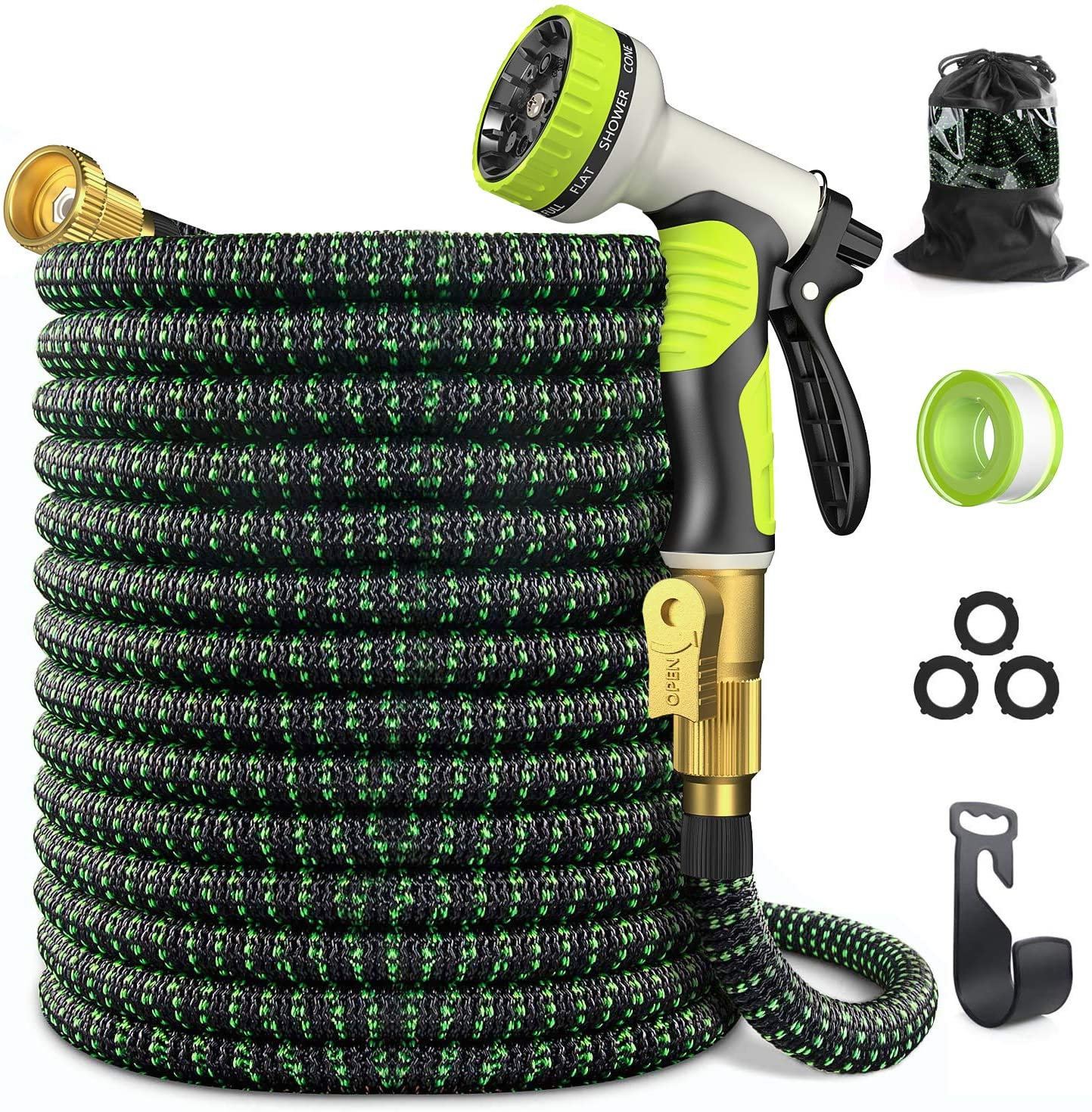 Expandable Garden Hose 50 ft - GarHose Retractable Water Hose with 10 Function Spray Nozzle, 3/4
