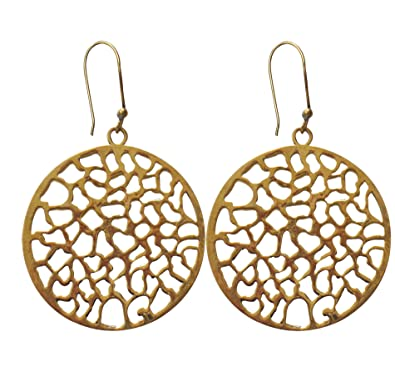 Buy Oscar Contemporary Round Filigree Plain Design Gold Plated Dangle Earrings Online At Low Prices In India