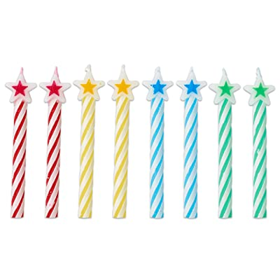 American Greetings Time to Party Party Supplies, Star Spiral Birthday Candles (8-Count): Toys & Games