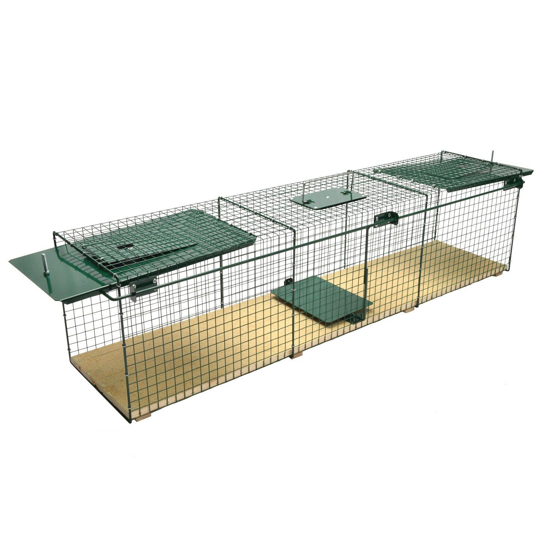 MoorlandSafe 6044 - Trampa Animales Vivos - Gatos Zorros - 116x28x28cm - 2 Entradas - Madera y Alambre: Amazon.es: Jardín
