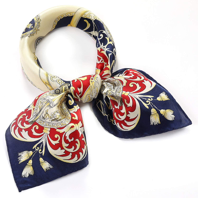 blueepaisley SILIQUE Small Square Scarf for Women, Silk Scarf for Neck, Head, Wrist, and Handbag  21x21