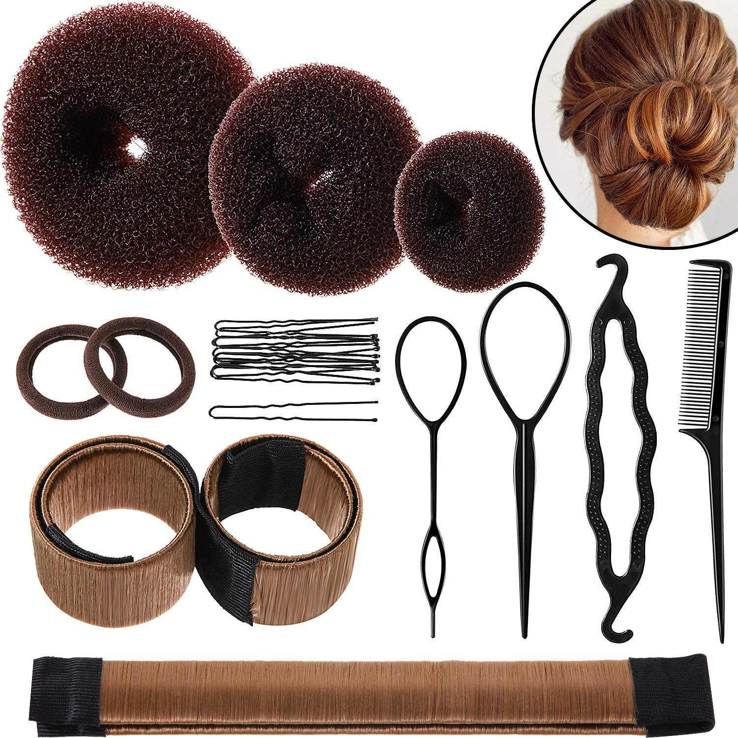 Hair Bun Shaper Set, Include 3 Pieces Hair Bun Donut, 2 Pieces Bun Marker, 4 Pieces Ponytail Hair Tool, 10 Pieces Bobby Pins and 2 Pieces Elastic Bands for Women Kids Hair Bun Maker Kit (Brown)