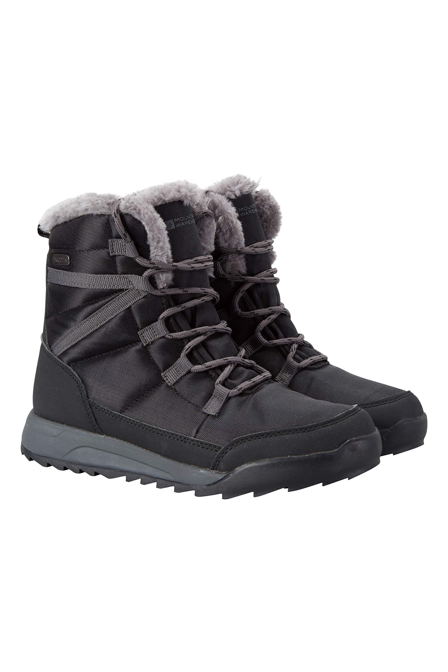 Mountain Warehouse Leisure Womens Snow Boots - Warm Winter Shoes Black 10 M US Women