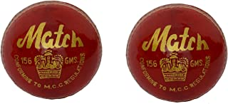 Confezione da 2CW Match Red alum Made in pelle conciata al taglio 4pezzi palla da cricket interamente cucita a mano 155,9gram 25Overs ideale per club partite & pratica MCC regolamento omologate