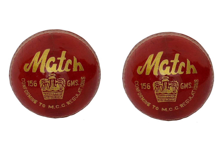 2Stück CW Match rot Alaun gegerbt Leder Made 4CUT Stück Cricket Ball komplett Hand genäht 5.5oz 25über ideal für Club & Praktiken MCC Verordnung zugelassen Cricket World