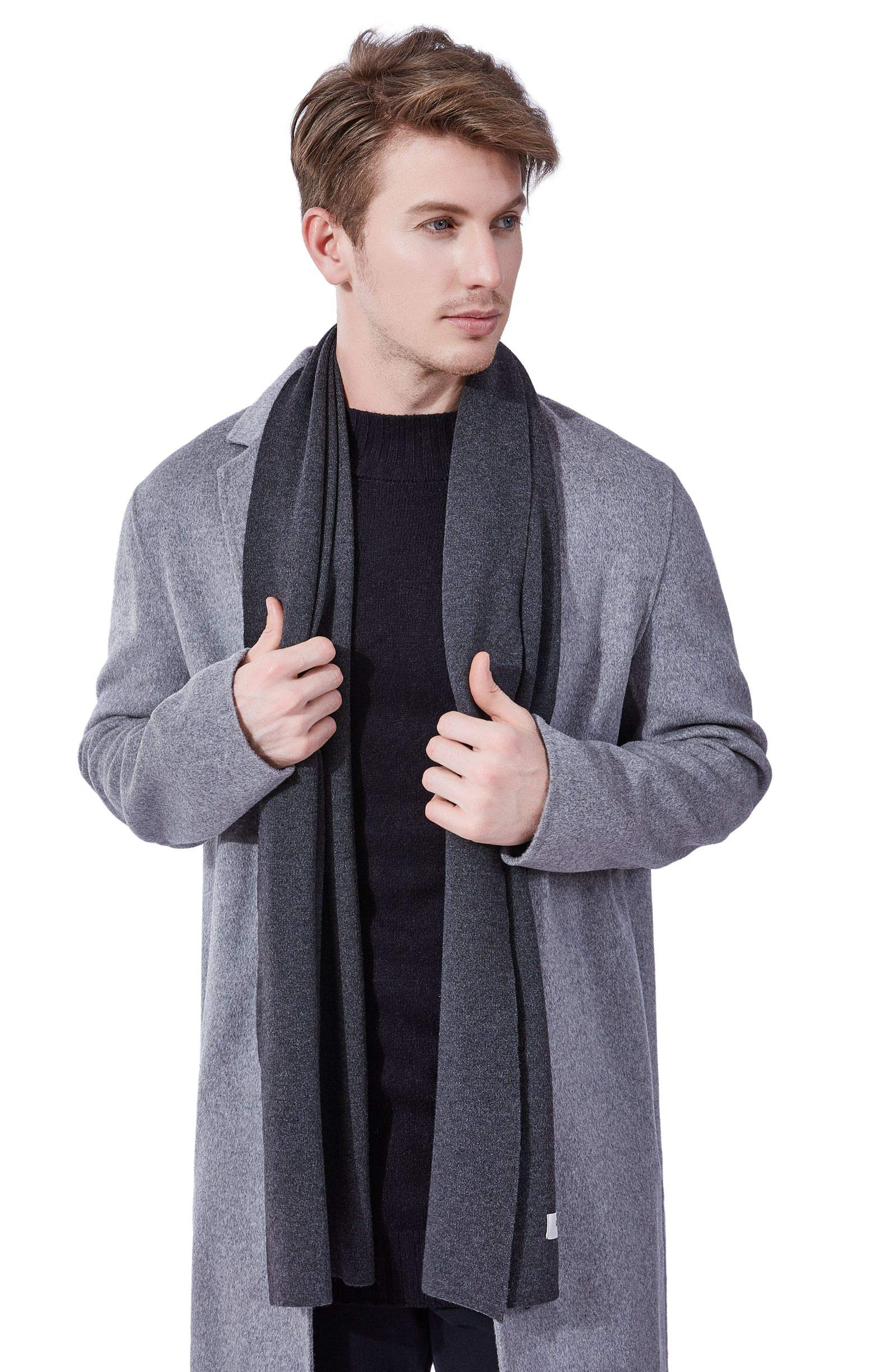 KUMONE Men Scarf Winter Cashmere Wool Scarves with Gift Bag, Dark Gray