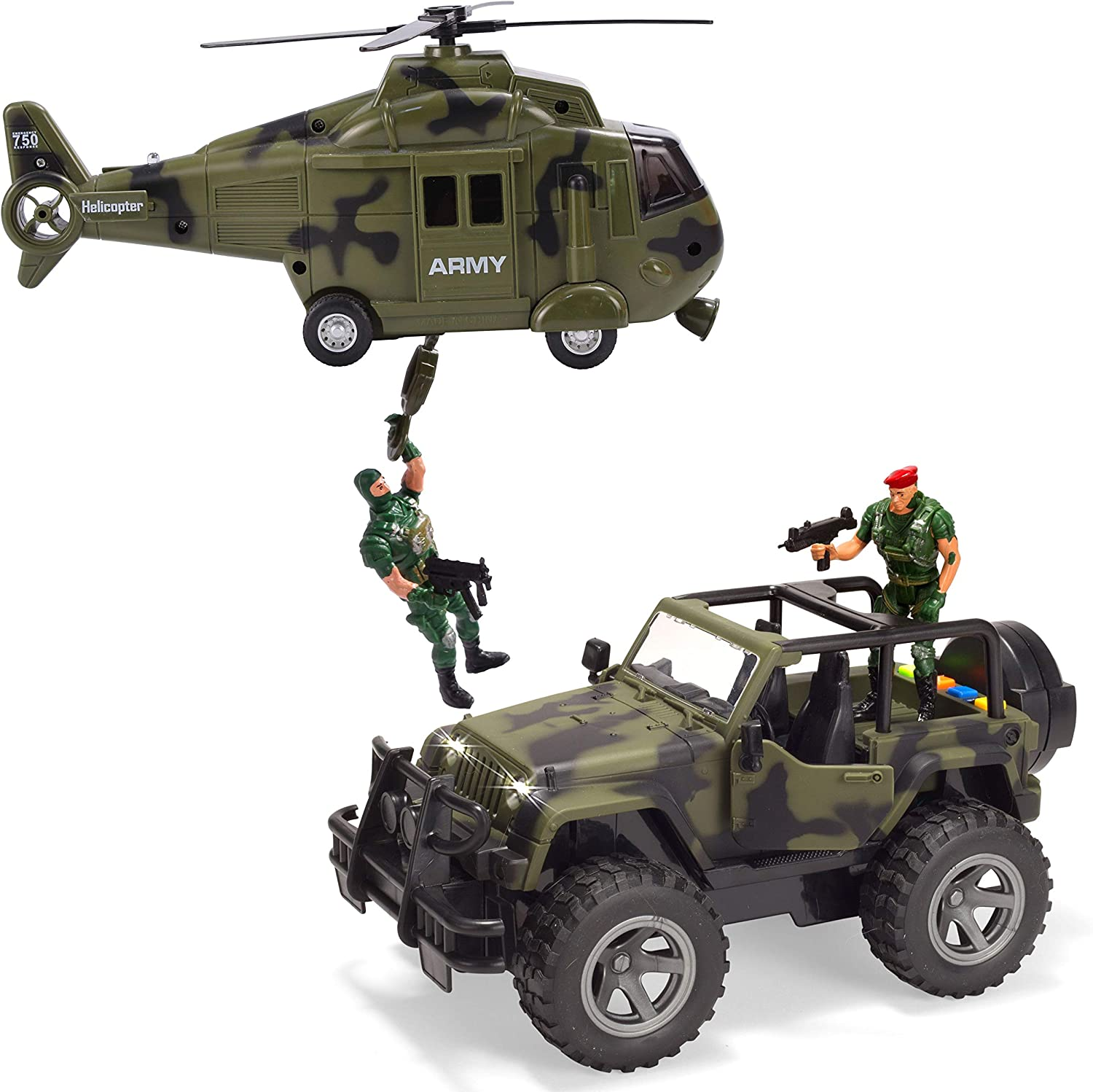 JOYIN 2 Pack Friction Powered Realistic Military Vehicle Car Set Including Military Truck Helicopter Lights and Sounds Sirens Army Men Action Figures and Accessories