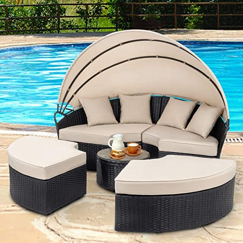 Walsunny Patio Furniture Outdoor Lawn Backyard Poolside Garden Round Daybed