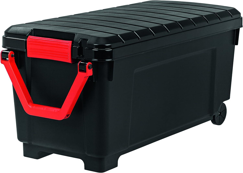 Iris Ohyama Store It All - SIA-1000, Caja de almacenamiento de bricolaje apilable, plastico, 170L, Negro/Rojo, 75 x 49 x 50 cm, Lote de 1