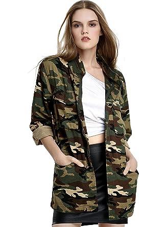 Escalier Femmes Poches Motif Camouflage Militaire Vintage Vestes Manteaux  Denim Vert ArmšŠe (Medium, Camouflage 44398c0048aa