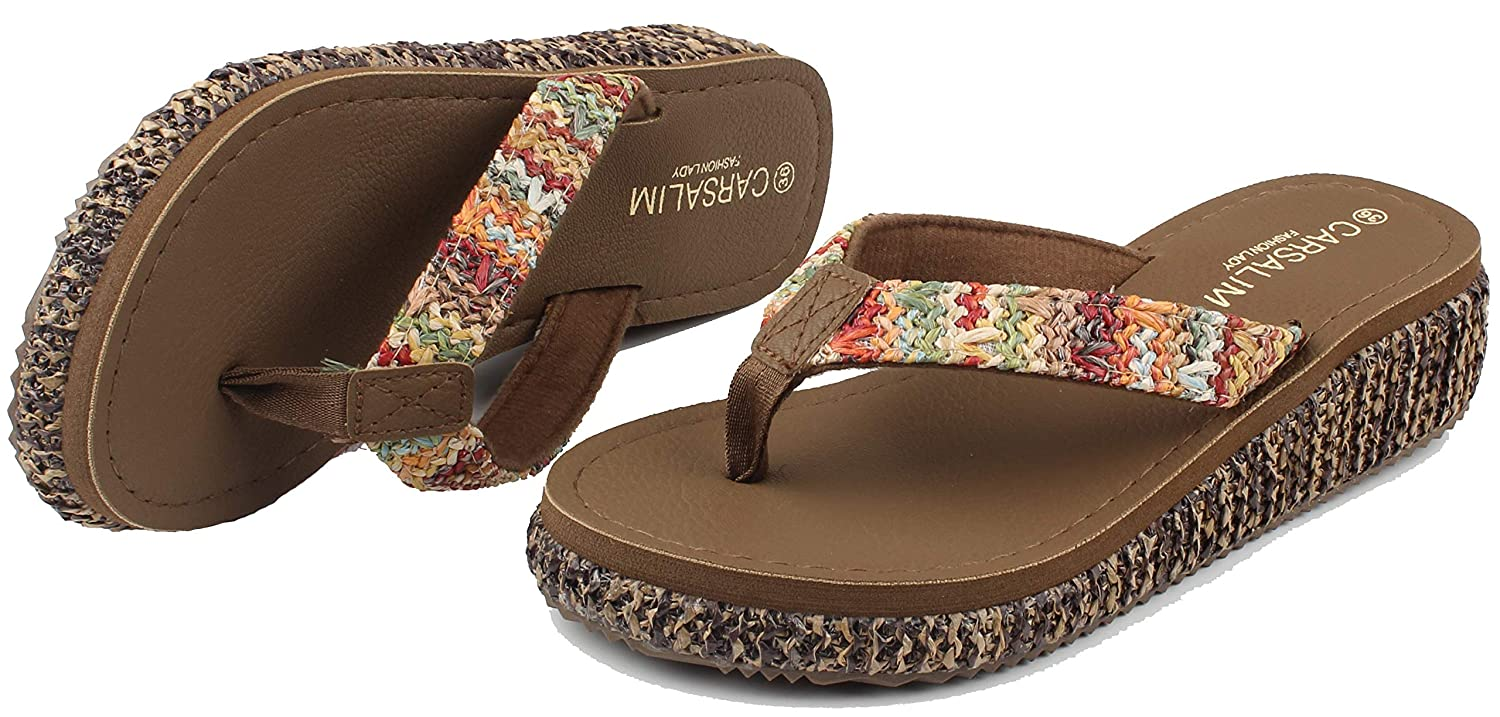 MERFUNTO Wedge Sandals for Women Platform Flip Flops Slide Sandals