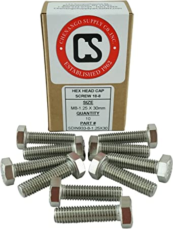 100 Pack UNC Carbon Steel M8 x 1.25 x 30mm Zinc Hex Cap Screw Grade 8.8