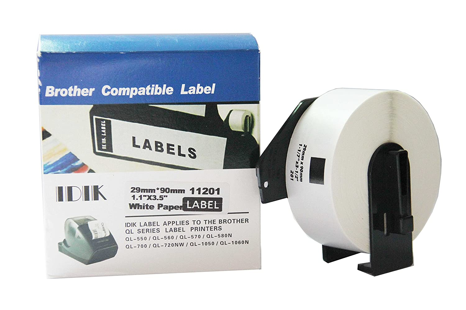 IDIK-11201 Replacement Labels Compatible with Brother DK-1201 Standard Address Label 29mm x 90mm x 400pcs/roll Packed in Individual Printed Retail Box with Permanent Cartridge 7 Petal