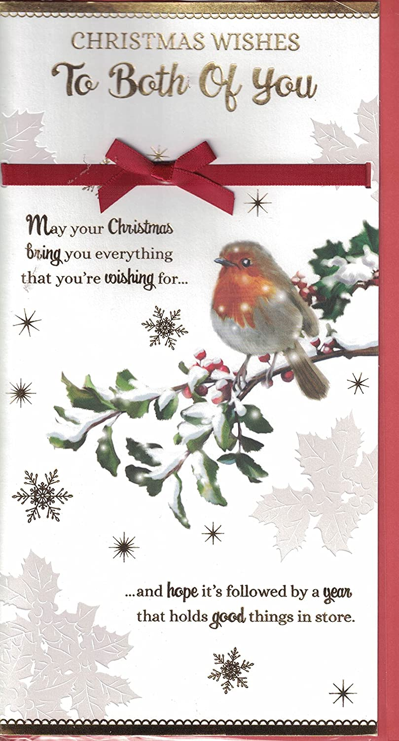 To Both Of You Christmas Card ~ To Both Of You .... This Special Christmas Message ~ Xmas Robin Quality Slim Card prelude