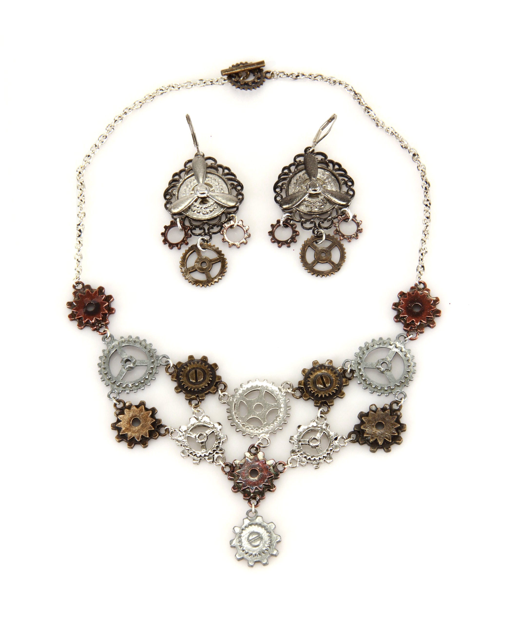 elope Multi Gear Necklace And Earring 3