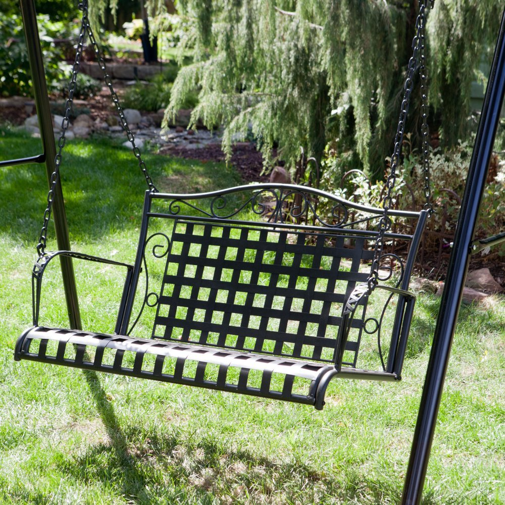 International Caravan Mandalay Iron Patio Porch Swing in Antique Black