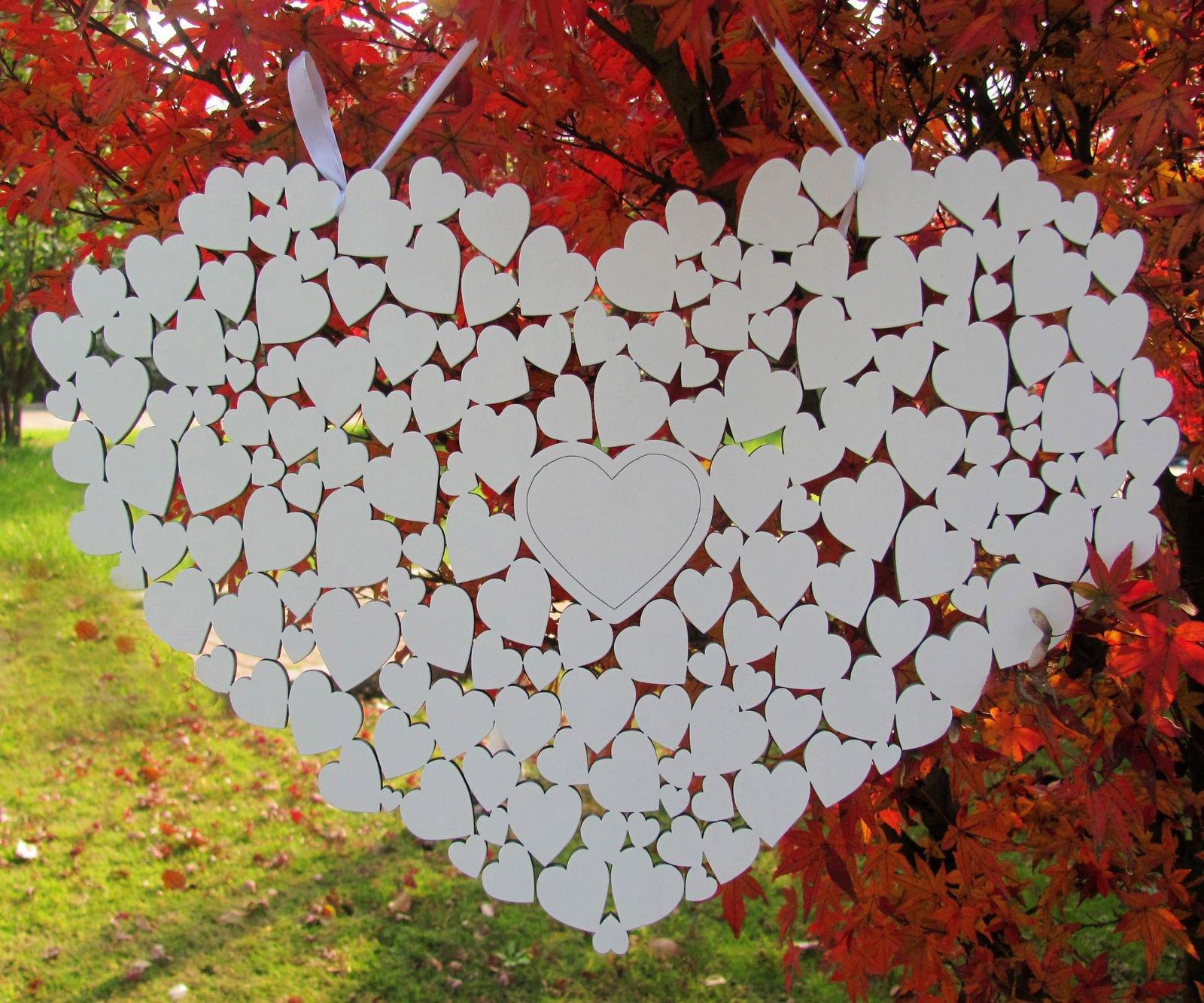 SL Crafts Wooden Heart Wedding guestbook Hanging Heart Guest Book Alternative (White)