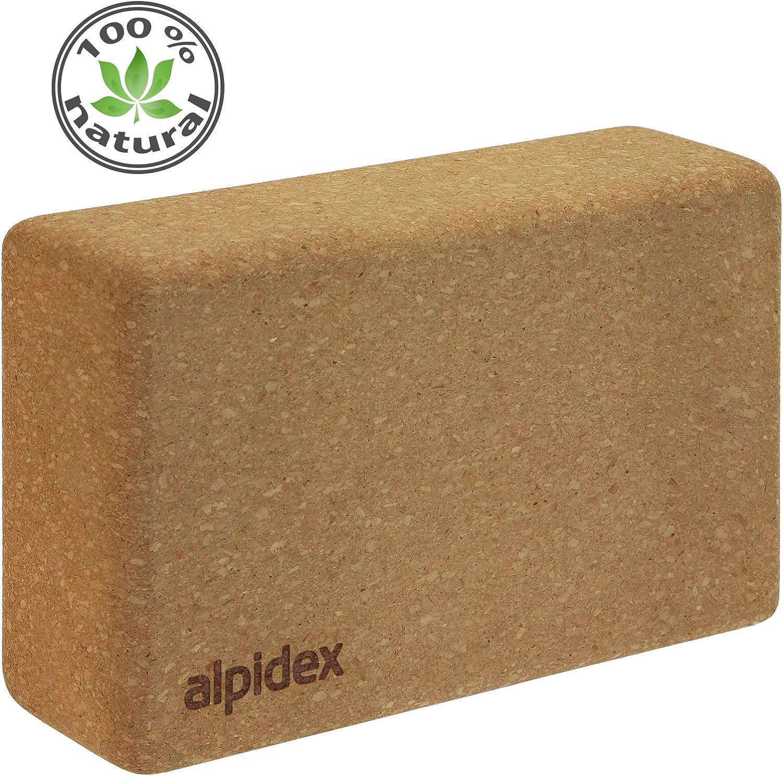 ALPIDEX Bloque de Corcho Yoga Block Cork Ladrillo Natural Bloc Pilates Juego de 2 o 1