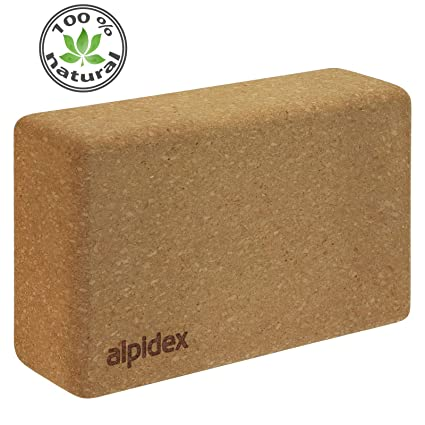 ALPIDEX Bloque de Corcho Yoga Block Cork Ladrillo Natural Bloc Pilates Juego de 2 o 1