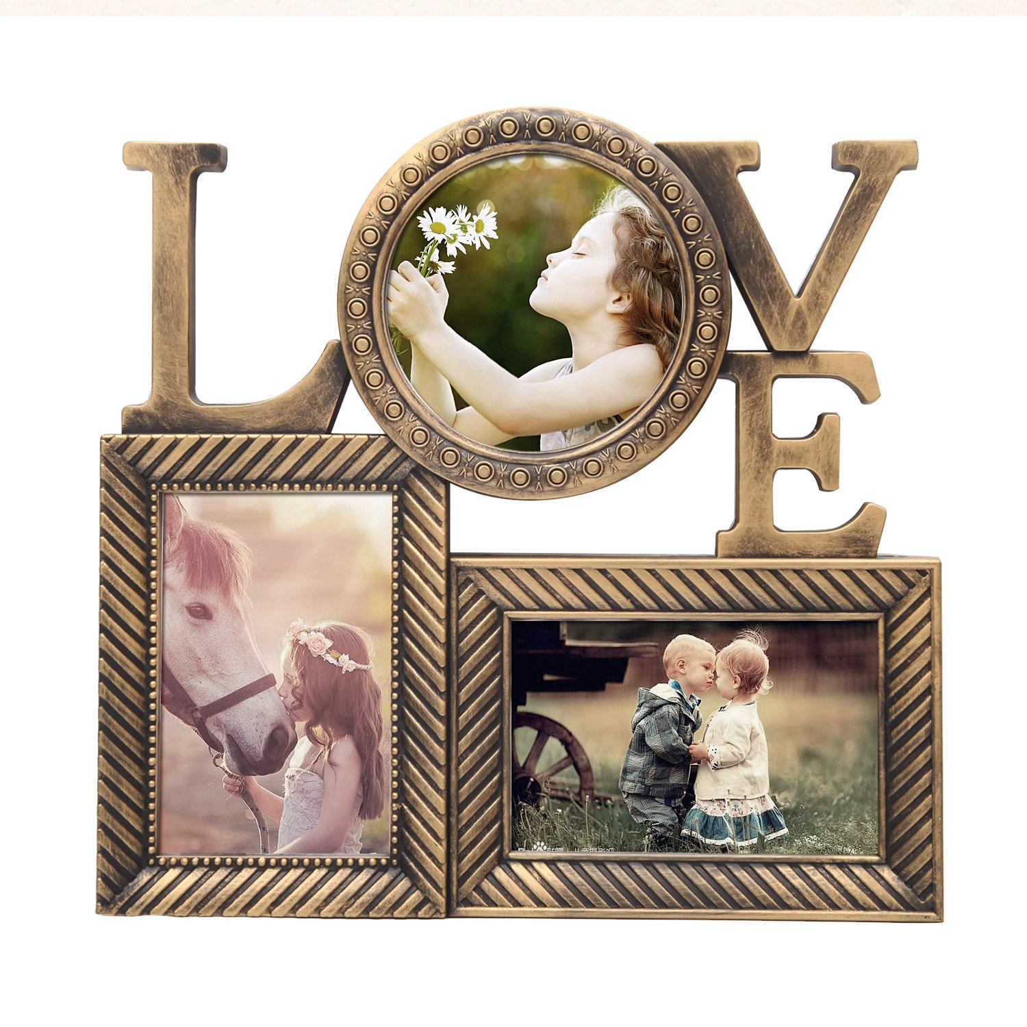 Deco De Ville 3 Opening LOVE Theme Plastic Decorative Antique Golden Puzzle Collage Picture Photo Frame, Wall Hanging, Gold