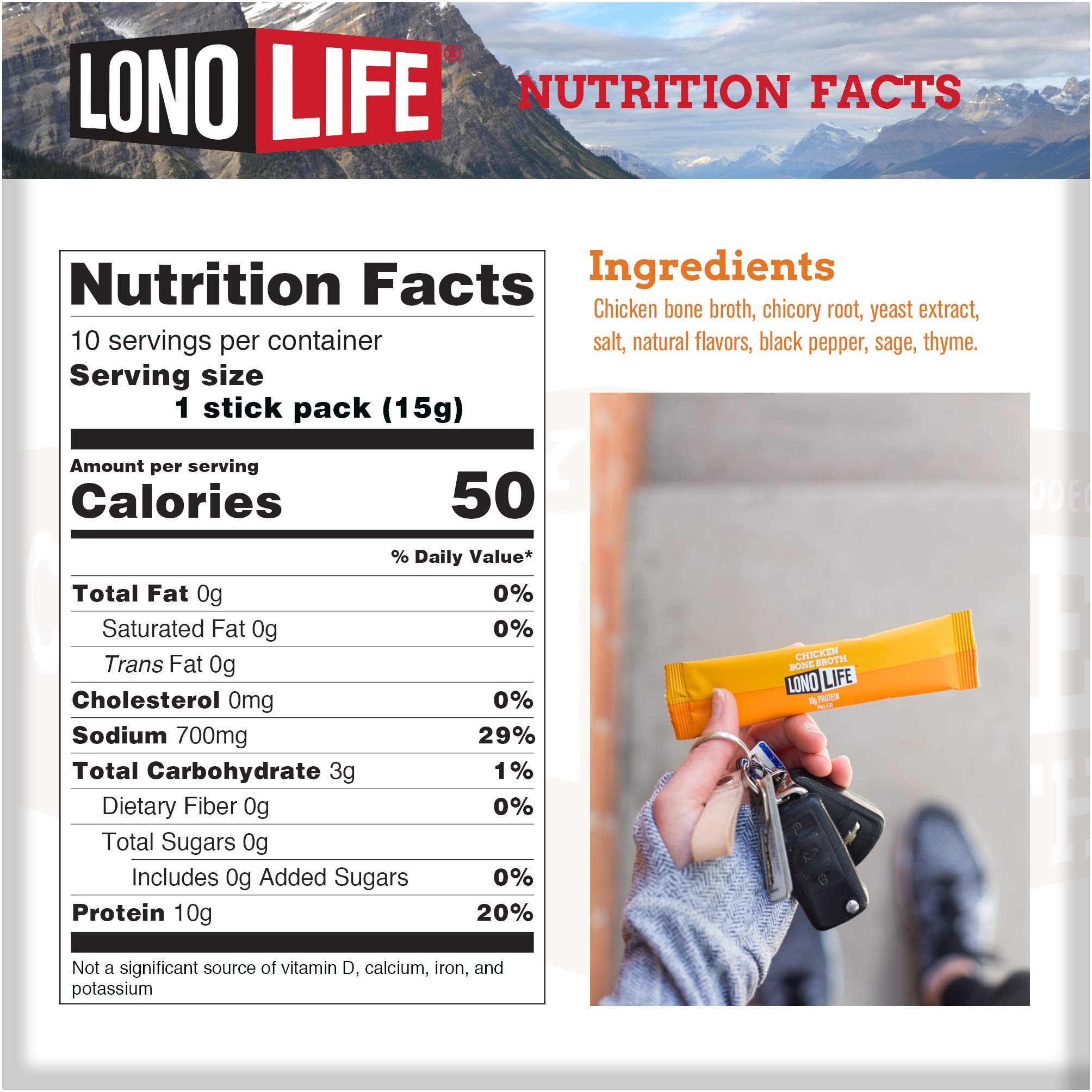 LonoLife Chicken Bone Broth Powder with 10g Protein, Stick Packs, 10 Count by LonoLife (Image #2)