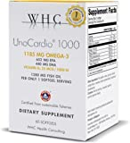 WHC - UnoCardio 1000 (60 Softgels) - 1280 mg of pure Triglyceride fish oil with high concentration omega-3 (1185 mg),652 mg EPA and 440 mg DHA and 25 mcg (1000 IU) vitamin D3 per softgel