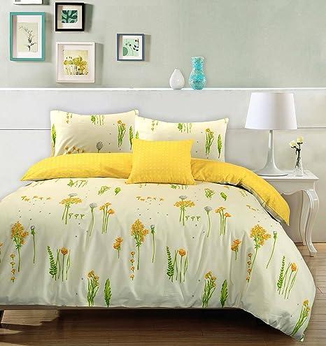 Juego de funda nórdica brisa floral de verano, 100% algodón, 100% algodón, Cream & Yellow, matrimonio grande: Amazon.es: Hogar