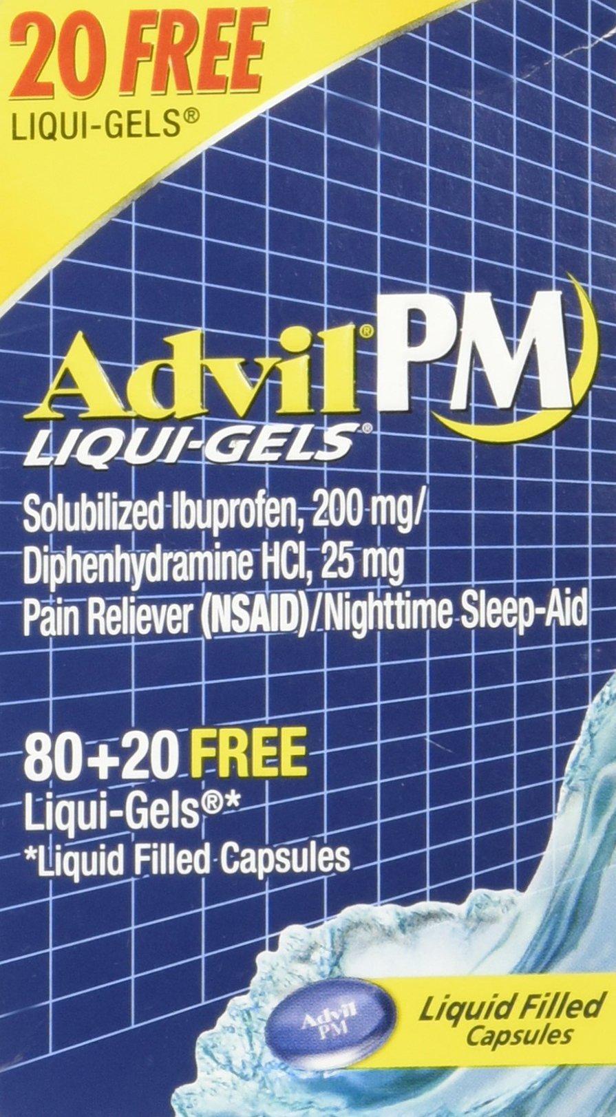 Advil PM Liqui-Gels 80 + 20 (Total of 100)Liquid Filled Capsules