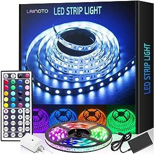 LED Strip Lights 16.4ft 5050 RGB Color Changing Lights Waterproof Flexible Tape 150 LEDs Light Strips Kit with 44 Keys IR Remote Controller and 12V Power Kit for Home, Bedroom, Kitchen,DIY Decoration