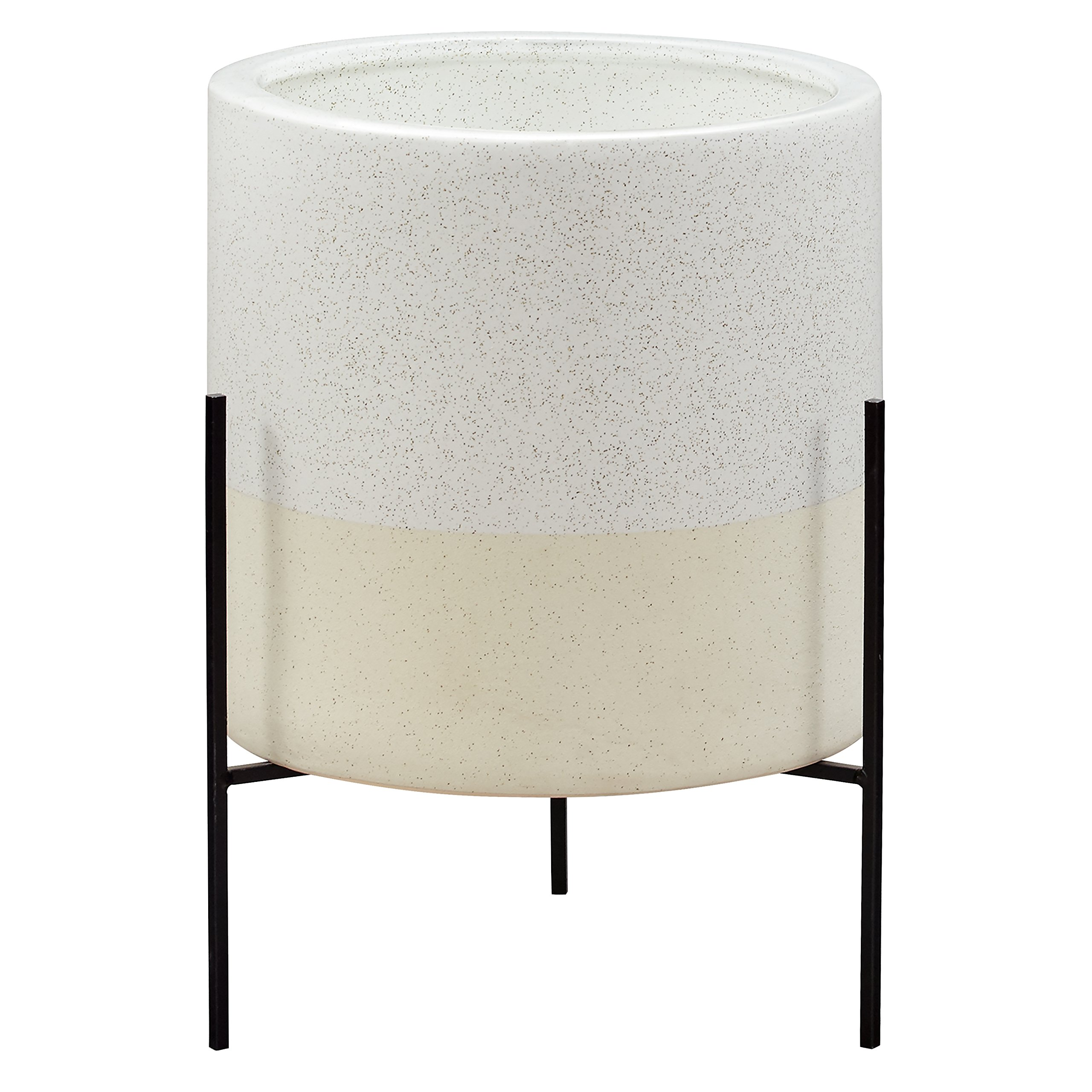 Rivet Mid-Century Ceramic Planter with Stand, 17''H, White by Rivet