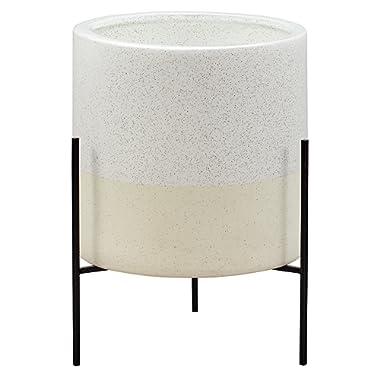 Rivet Mid-Century Ceramic Planter with Stand, 17 H, White
