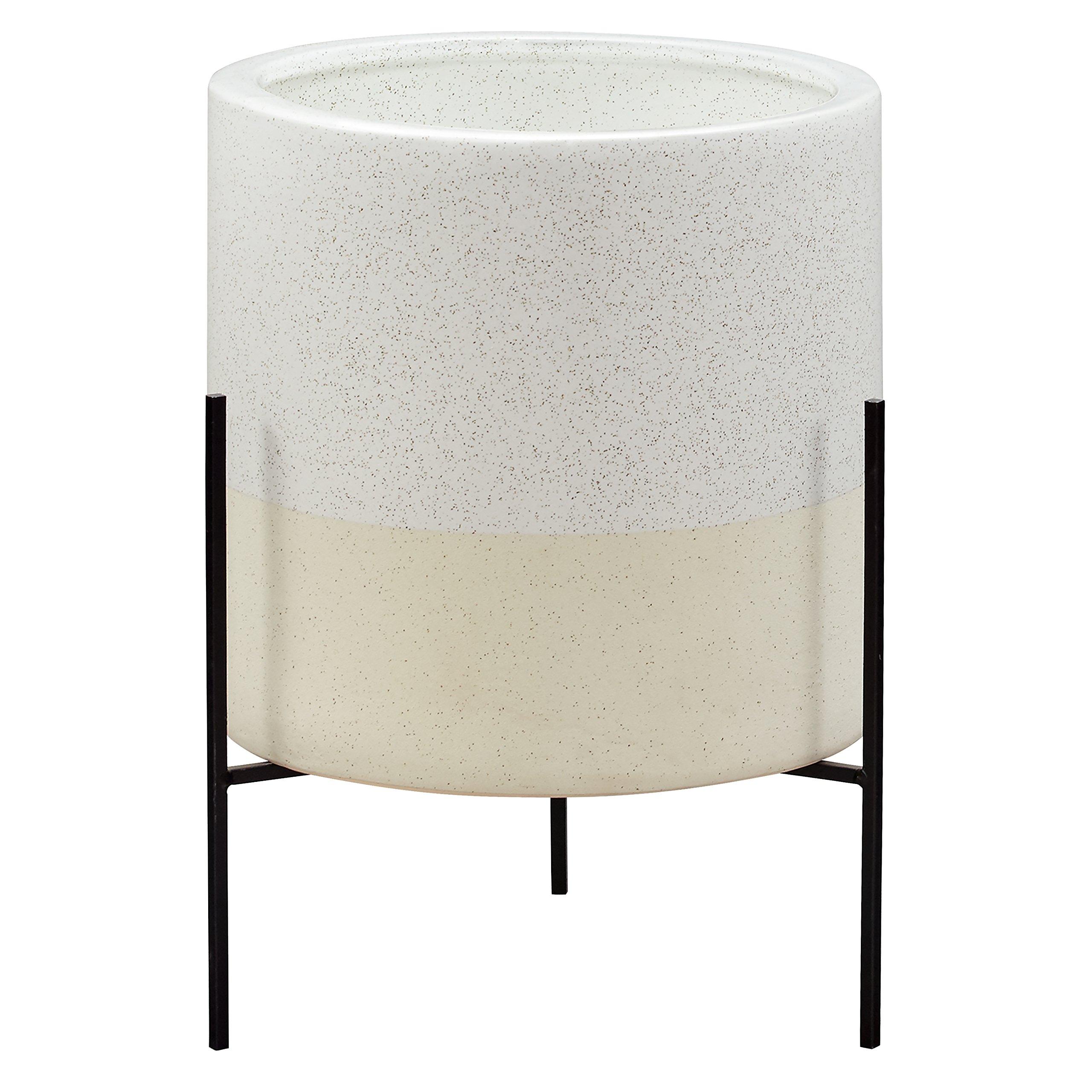 Rivet Mid-Century Ceramic Planter with Stand, 17''H, White