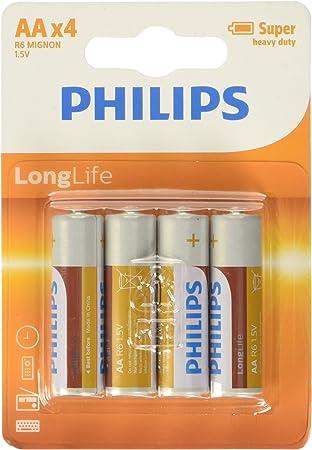 Philips R6L4B/10 - Pack de 4 pilas: Amazon.es: Electrónica