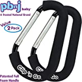 PBnJ baby Clip n Go - 2 Pack X-Large Stroller Hook Clip Holds Purse, Shopping & Diaper Bags & More
