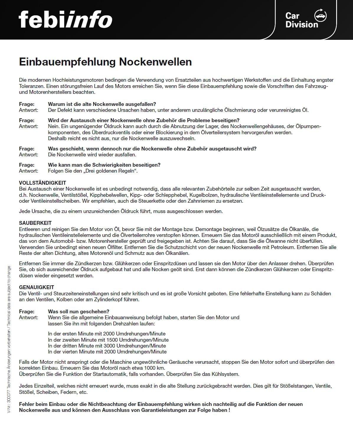 1 St/ück febi bilstein 18359 Nockenwelle