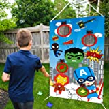 PANTIDE Superhero Toss Games with 4 Bean Bags, Superhero Indoor Outdoor Throwing Game Party Supplies for kids, Carnival…