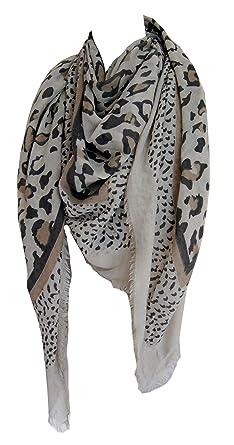 Grand foulard 50% coton imprimé léopard beige ou gris (Gris)  Amazon ... e65ef71d814