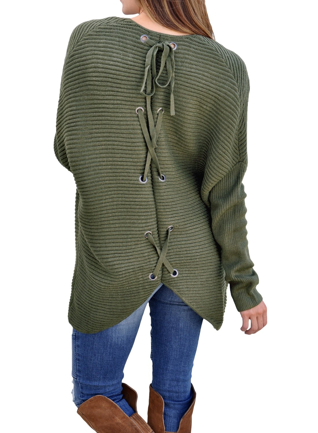 Women's Casual Long Sleeve Open Front Ribbed Knit Cardigan Sweaters Loose Lace up Back Oversized Outerwear Coat Plus Size Army Green L 12 14