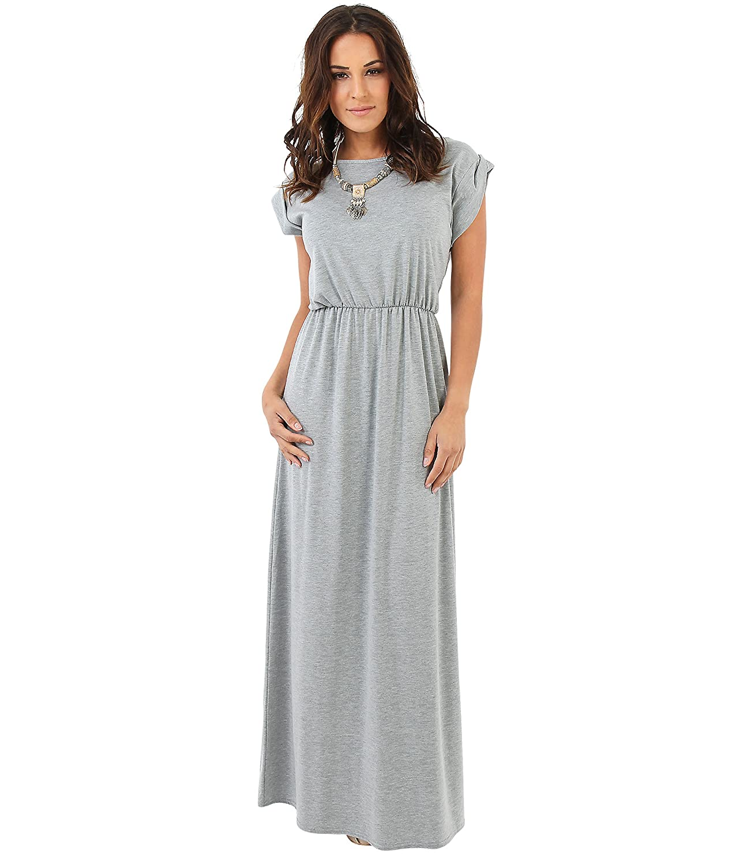 KRISP Damen Bodenlanges Kleid Langes Jersey Maxikleid: Amazon.de ...