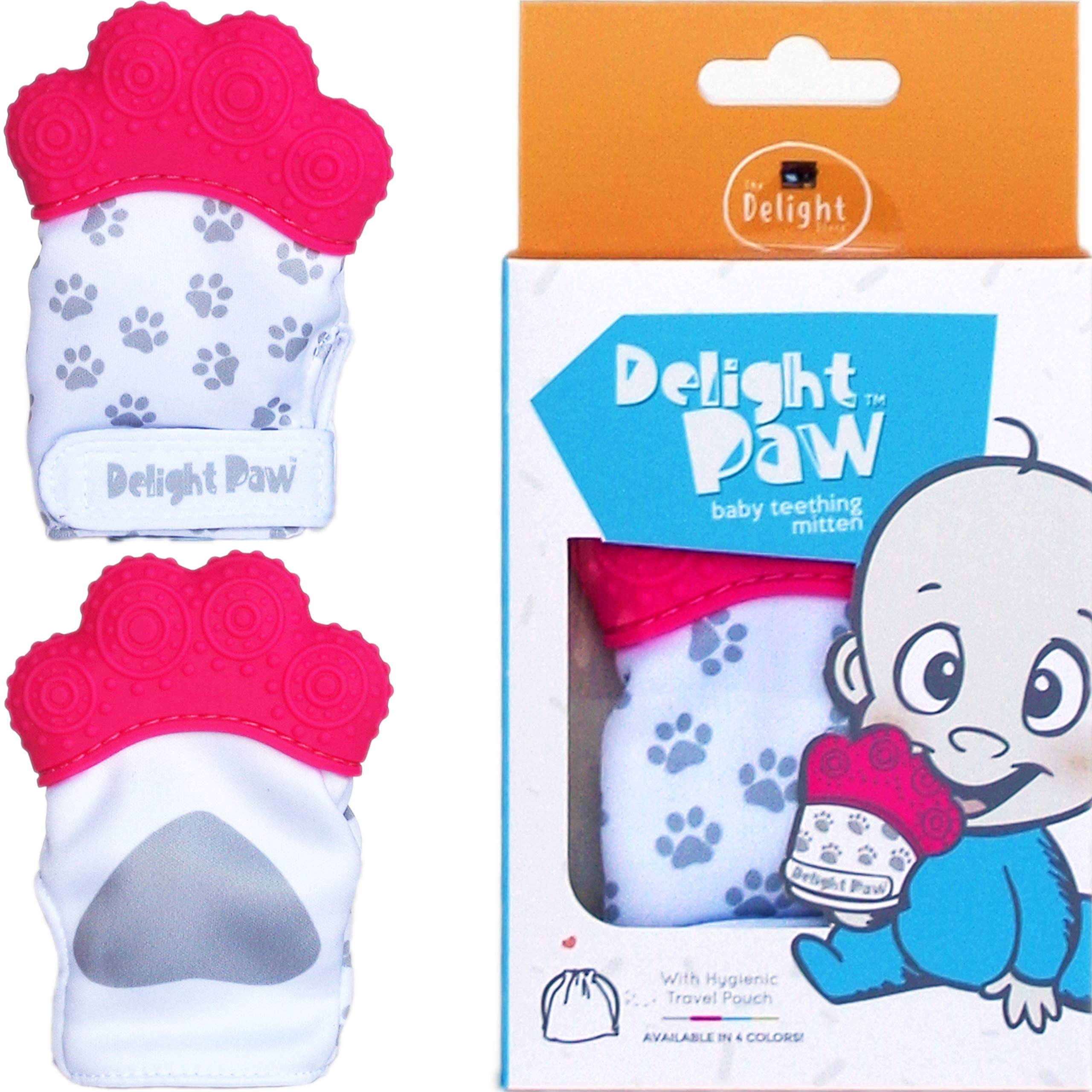 Delight Paw Baby Teething Mitten Mom Designed for Self Soothing Pain Relief | with Hygienic Travel Bag | Mittens BPA Free | Prevents Scratches | Baby Boy or Baby Girl | 0-6 Months | Precious Pink