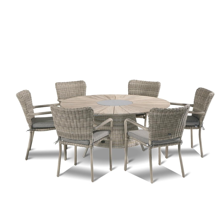 Hartman Gartenmöbelset Tisch ∅ 150 cm Teak/natural taupe inkl Geflechtstühle