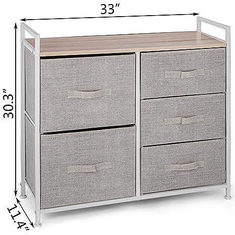 Happybuy 5-Drawer Storage Organizer Unit Fabric Bins Bedroom Play Room Entryway Hallway Closets Steel Frame MDF Top Dresser Storage Tower Fabric Cube Dresser Chest Cabinet Gray//Tall