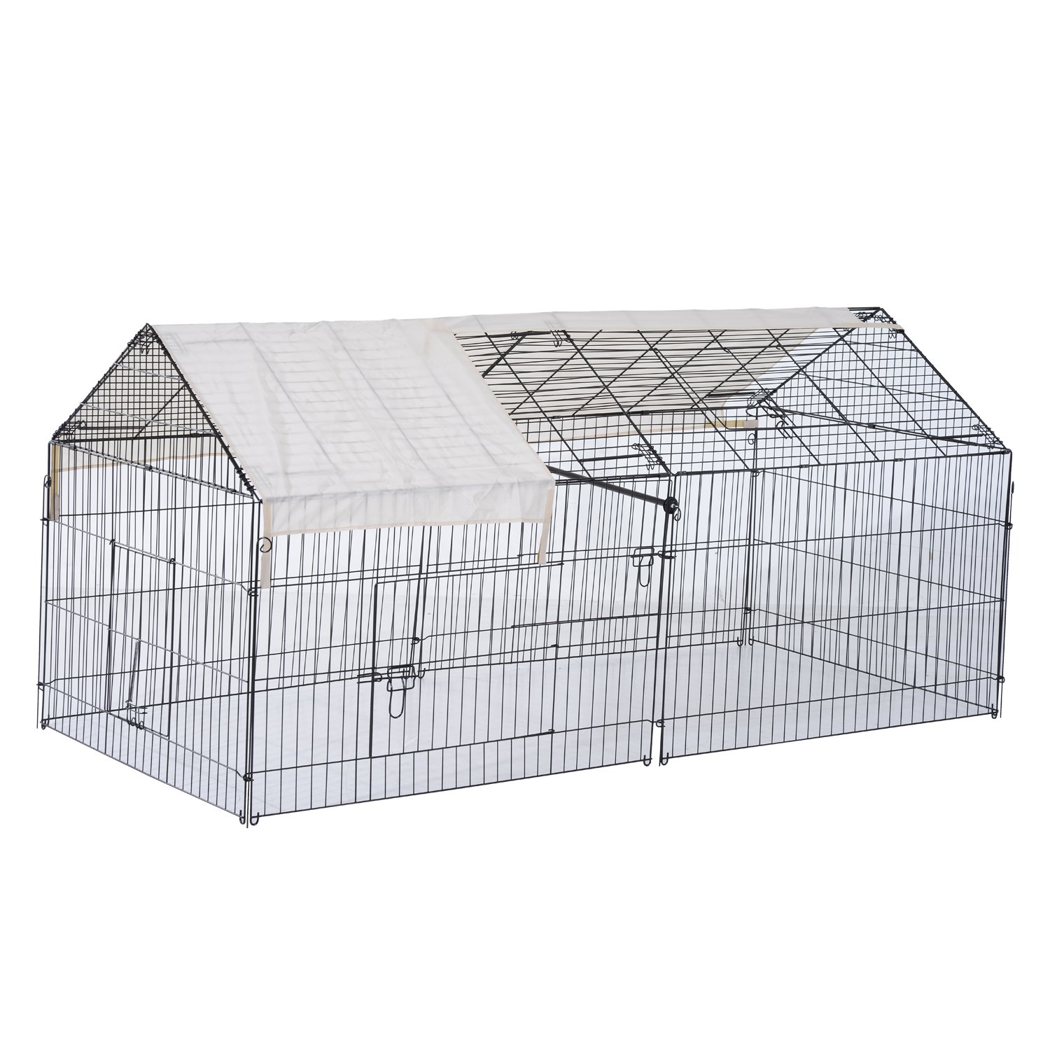 Pawhut 88'' Metal Outdoor Small Animal Enclosure with Protective Cover - Black/White