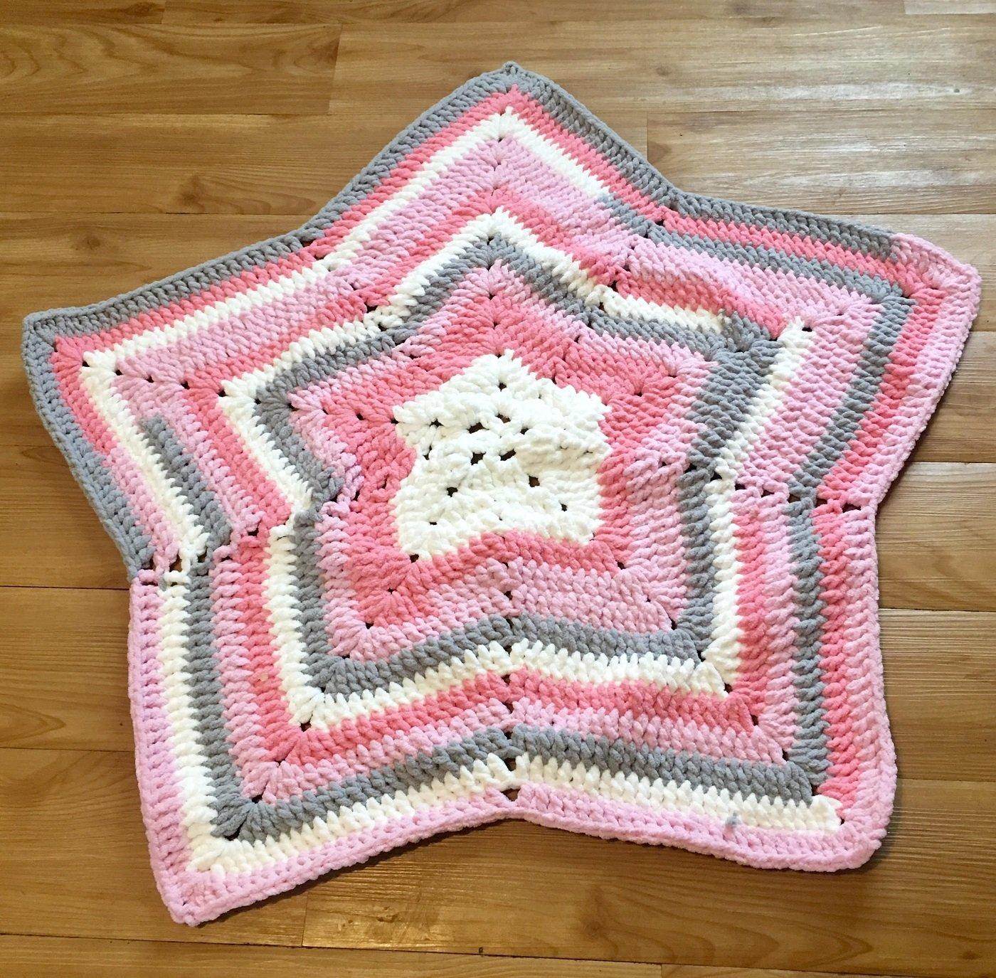 Amazon Kays Crochet Chunky Baby Girl Pink Grey Star Blanket