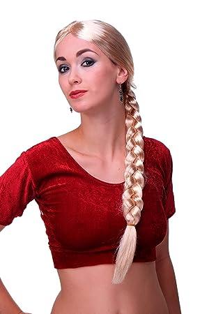 WIG ME UP ® - Per-P02 Peluca mujeres carnaval Rapunzel largo rubio trenza trenzado