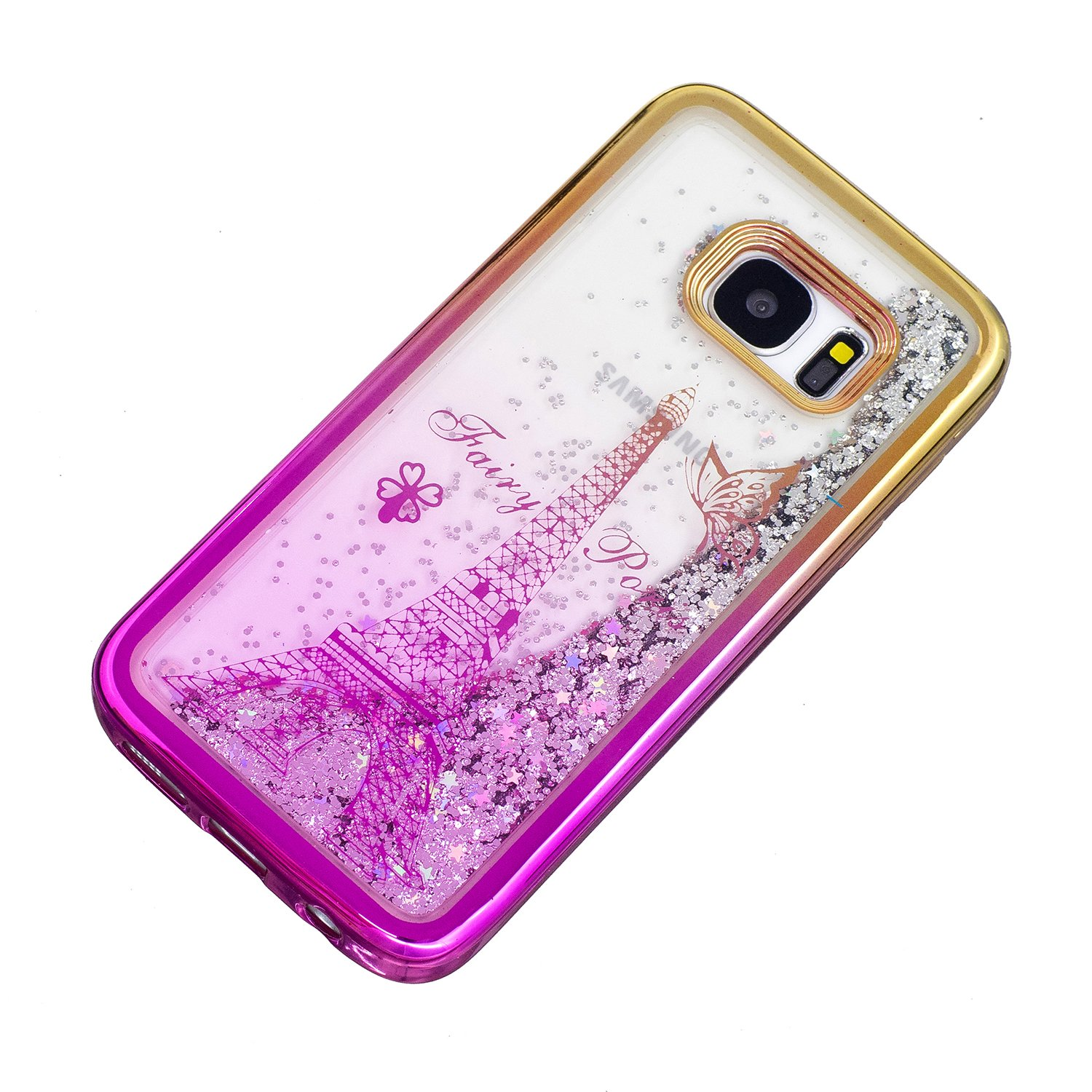 Liquid Clear Case for Samsung Galaxy S7 Edge,Glitter TPU Cover for Samsung Galaxy S7 Edge,Herzzer Luxury [Butterfly Tower Pattern] Soft Flexible with Electroplated Frame Flowing Sparkle Love Heart Star Crystal Back Case