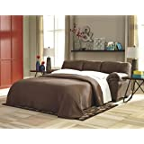 """Ashley Bladen Collection 1200036 90"""" Full Sofa Sleeper with Faux Leather Uphostery Stitched Detailing Plush Padded Arms Split Back Cushion and Contemporary Style in"""