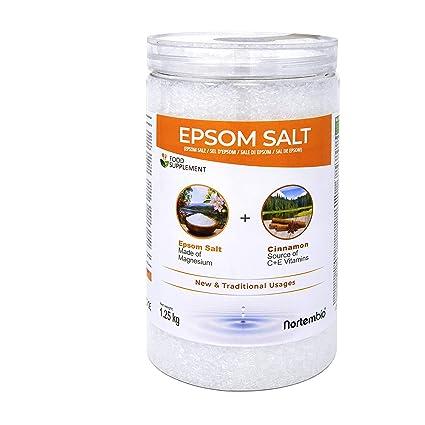 NortemBio Sal de Epsom 1,25 Kg. con Aceite Esencial de Canela. con