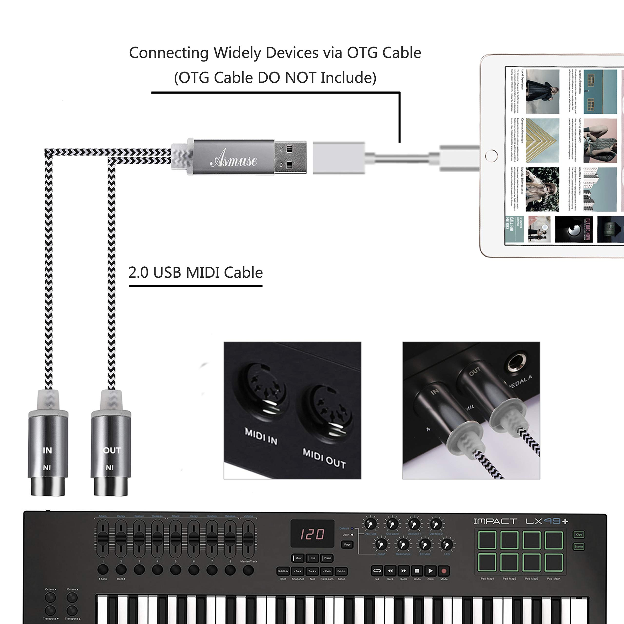 MIDI to USB Cable MIDI Interface Converter with LED Indicator Light and FTP Processing Chip for Electric Keyboard Piano to PC Mac Laptop 5-PIN DIN MIDI Cable(1.6M) by Asmuse (Image #6)